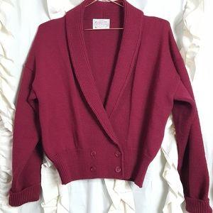 Pendelton roll collar double breasted hem sweater